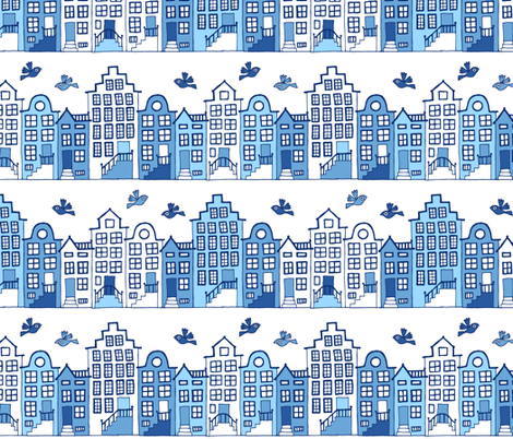 Dutch street blue and white fabric by heleen_vd_thillart on Spoonflower - custom fabric