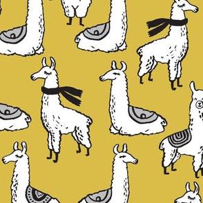 Llamas - Mustard by Andrea Lauren