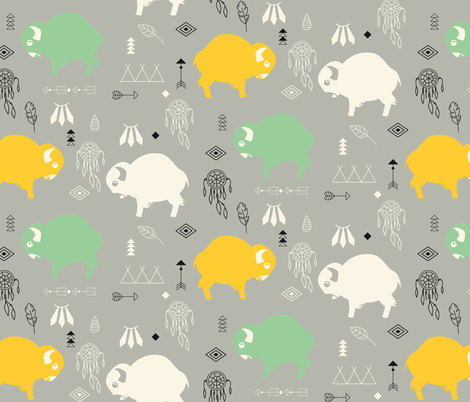 Cute buffaloes and native American symbols fabric by bluelela on Spoonflower - custom fabric