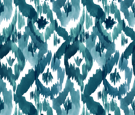 TealBlueIkatDiamonds300 fabric by crystal_walen on Spoonflower - custom fabric