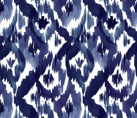 Indigo Blue Ikat Diamonds fabric by crystal_walen on Spoonflower - custom fabric