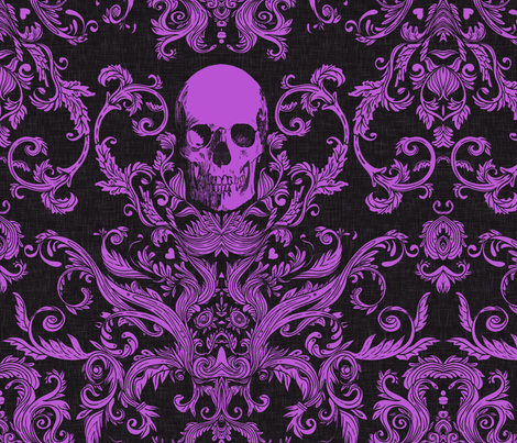 Dread Damask / Livid Purple  fabric by willowlanetextiles on Spoonflower - custom fabric