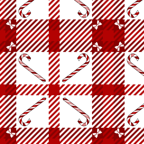 Candy Cane Plaid 233 Red White fabric by wickedrefined on Spoonflower - custom fabric