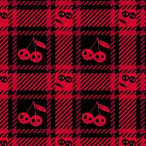 Cherry Skulls Plaid 112 Black Red