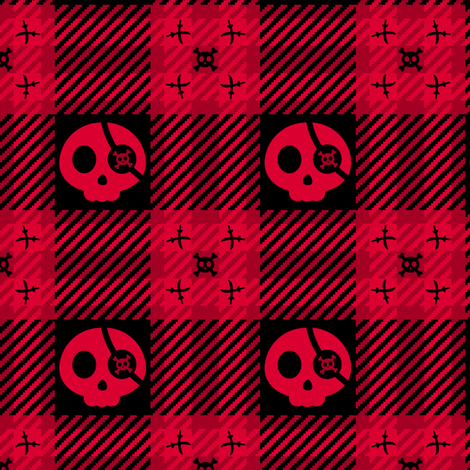 Pirate Skulls Plaid 112 Black Red fabric by wickedrefined on Spoonflower - custom fabric