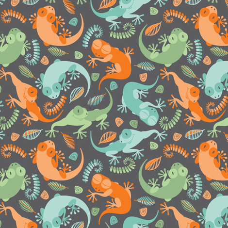 Little Geckos Charcoal fabric by cjldesigns on Spoonflower - custom fabric