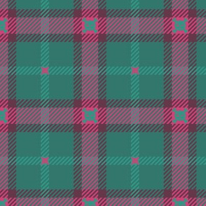 Skull Radiation Plaid 155 Teal Pink