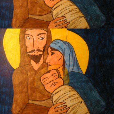 Joseph, Mary & Baby Jesus  fabric by kssfabrics on Spoonflower - custom fabric