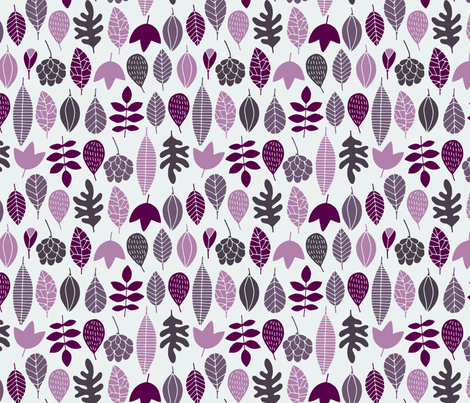 Autumn leaves in purple fabric by heleen_vd_thillart on Spoonflower - custom fabric