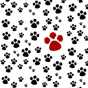 Paw Prints  MED - red black