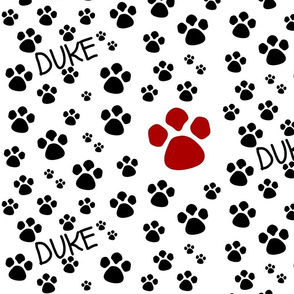 Paw Prints  MED - red black-personalized