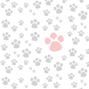 Paw Prints  MED - pink gray