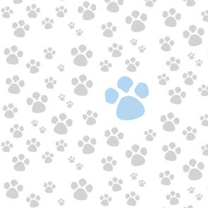 Paw Prints  MED - blue gray