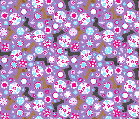 Dachshund Garden Party (Violet) fabric by robyriker on Spoonflower - custom fabric