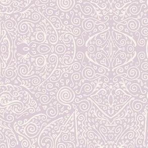 lilac-mauve and cream bridal mendhi