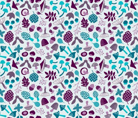 Autumn Mushrooms light fabric by heleen_vd_thillart on Spoonflower - custom fabric