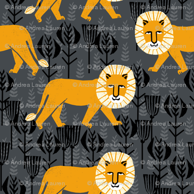 Safari Lion - Turmeric/Charcoal (Smaller Size) by Andrea Lauren