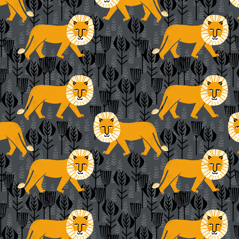 Safari Lion - Turmeric/Charcoal (Smaller Size) by Andrea Lauren fabric by andrea_lauren on Spoonflower - custom fabric