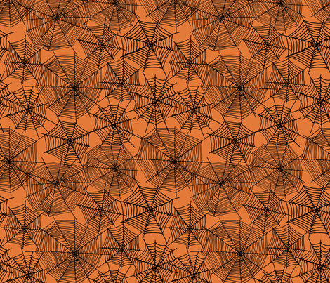 spider web  // webs spiders cute scary orange and black halloween fabric by andrea_lauren on Spoonflower - custom fabric