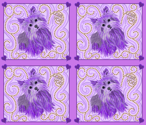 Yorkie - Love You Pillows fabric by sherry-savannah on Spoonflower - custom fabric