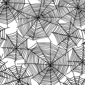 spider web // black and white creepy october spooky scary halloween fabric