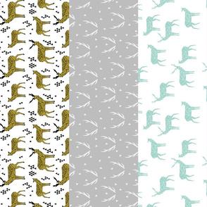 deer quilt // cheater quilt wholecloth stripes antlers kids nursery baby sweet deer purple mint grey girls quilt