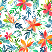 Impressionist Painted Tropical Floral on White