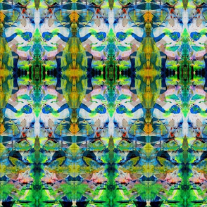 """Abstract Painterly/Green Garden fabric"""
