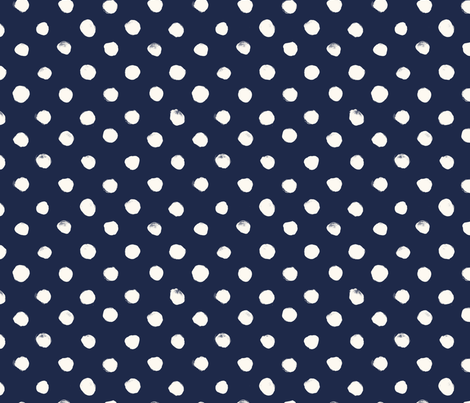 Dot White on Navy fabric by crystal_walen on Spoonflower - custom fabric