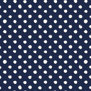 Dot White on Navy