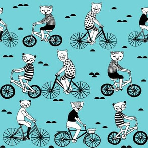 bears on bikes // childrens illustration fabric cute animal nursery print by andrea lauren