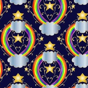 Night Rainbow with Navy and Gold