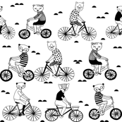 bears on bikes // black and white childrens illustration cute black and white nursery fabric baby scandi design by andrea lauren