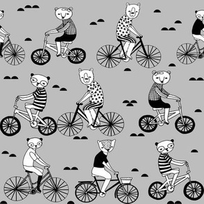 bears on bikes // grey bicycle fabric cute nursery baby childrens fabric childrens illustration by andrea lauren