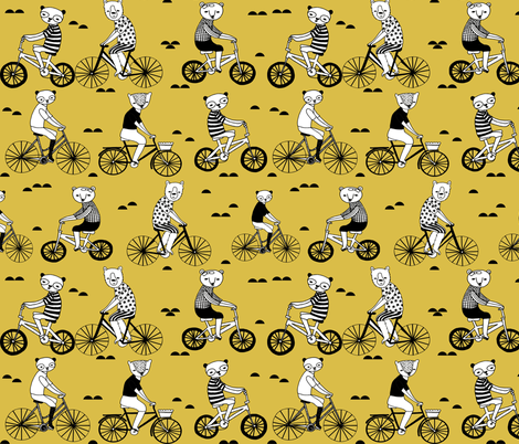 bears on bikes // mustard yellow bicycle fabric cute childrens illustrations by andrea lauren childrens bicycles fabric by andrea_lauren on Spoonflower - custom fabric