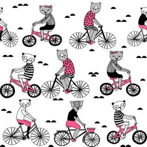 bears on bikes // cute bear illustrations andrea lauren design childrens art childrens illustration andrea lauren fabric