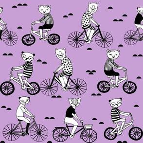 bears on bikes // purple cute childrens illustration andrea lauren illustration andrea lauren design andrea lauren fabric