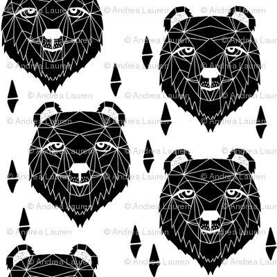 grizzly bear // black and white grizzly bear fabric nursery design bw bear fabric geometric bear design