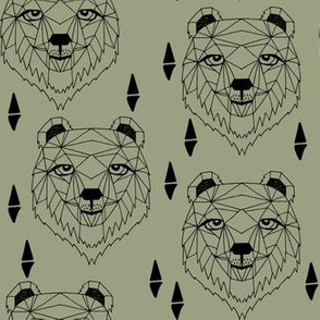 grizzly bear // bear face grizzly bear head artichoke green bear design andrea lauren fabric