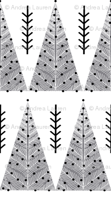 christmas evergreen tree // grey and white christmas triangles cute hand-drawn christmas fabric tree fabric