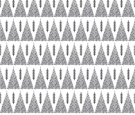 christmas evergreen tree // grey and white christmas triangles cute hand-drawn christmas fabric tree fabric fabric by andrea_lauren on Spoonflower - custom fabric