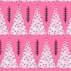 christmas evergreen tree // pink triangles christmas holiday xmas design christmas