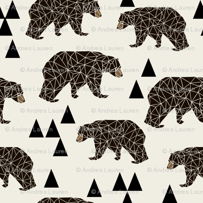Geo bear small geometric bear fabric bear fabric boys for Boy nursery fabric