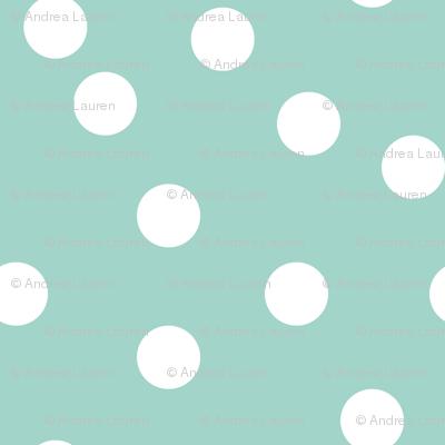 dots // mint white polka dots mini print cute small scale