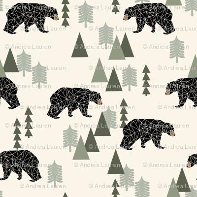 forest bear // cream green neutral baby nursery boys forest mountain woodland geometric bear