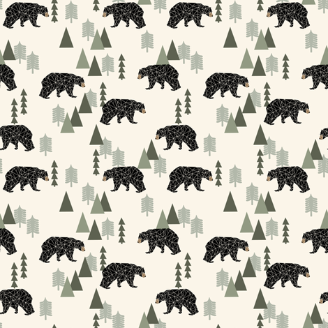 forest bear // cream green neutral baby nursery boys forest mountain woodland geometric bear fabric by andrea_lauren on Spoonflower - custom fabric