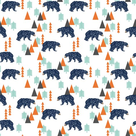Forest bear bear navy camping hunting boys forest for Fabric for boys room