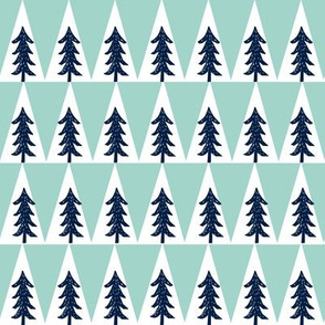 tree // forest woodland triangle camping mint navy blue nursery baby kids
