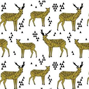 deer // triangle tri geometric geo deer golden olive deer quilt coordinate baby kids nursery