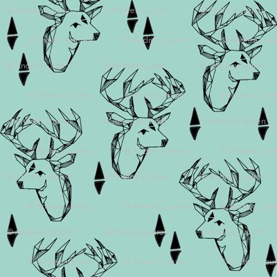 deer head // mint triangle tri kids nursery baby boy